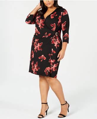 Connected Plus Size Printed Faux-Wrap Dress