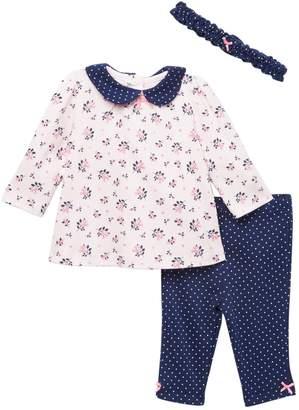 Little Me Ditsy Floral Tunic, Legging, & Headband Set (Baby Girls)