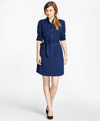 Brooks Brothers Cotton Chambray Shirt Dress