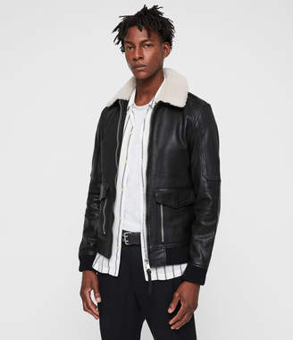 AllSaints Bardell Leather Aviator Jacket