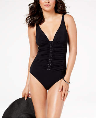 Gottex Profile By Shirred D-Cup Tummy-Control One-Piece Swimsuit