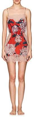 Fleur Du Mal Women's Rose Lace Floral Silk Slip