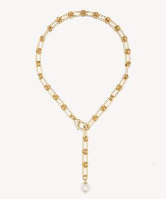 """Sole Society 20"""" Pave and Pearl Link Necklace"""