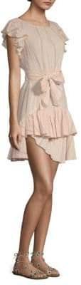 Rebecca Taylor Stripe Ruffle Sleeveless Dress