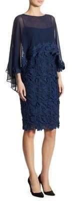 Teri Jon by Rickie Freeman Cape Sheath Dress