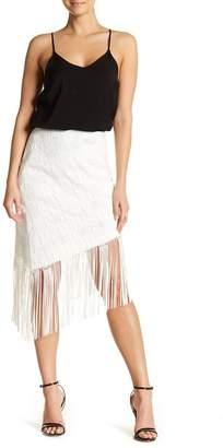 Nicole Miller Asymmetric Fringe Skirt