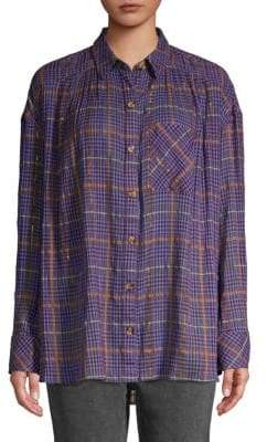 Free People Plaid-Print Button-Down Shirt