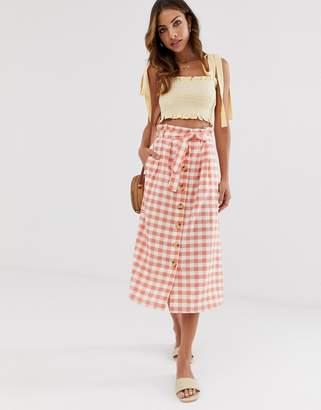 226721cf9b74 Stradivarius gingham rustic skirt in pink