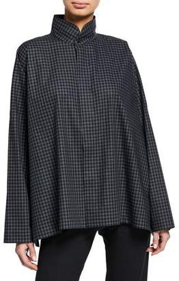 eskandar Checkered Long-Back Double-Collar Poplin Shirt