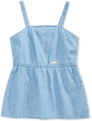 GUESS Cotton Chambray Tank Top, Big Girls (7-16) $36 thestylecure.com