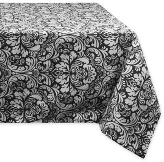 """DII 100% Cotton, Machine Washable, Everyday Damask Kitchen Tablecloth For Dinner Parties, Summer & Outdoor Picnics - 60x120"""" Seats 10 to 12 People, Black"""