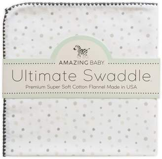Amazing Baby Ultimate Swaddle X-Large Receiving Blanket Premium Cotton Flannel Playful Dots