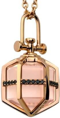"Medium 18k Rose Gold, Rose Quartz & Black Diamond Necklace ""Six Senses Talisman"""