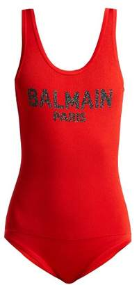 Balmain Logo Knit Bodysuit - Womens - Red Multi