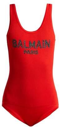 Balmain Logo Knit Bodysuit - Womens - Red Multi