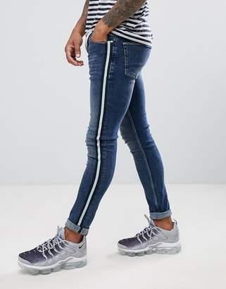 Asos Design Super Skinny Jeans In Dark Wash Blue With Side Stripe