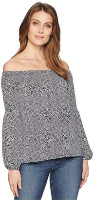 MICHAEL Michael Kors Mini Leopard Off Shoulder Top Women's Clothing