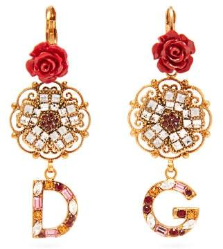 Dolce & Gabbana Crystal Embellished Floral Earrings - Womens - Red