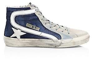 Golden Goose Men's Men's Slide High-Top Blue Denim Sneakers