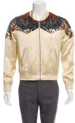 Saint Laurent Animal Print Sequin Bomber Jacket