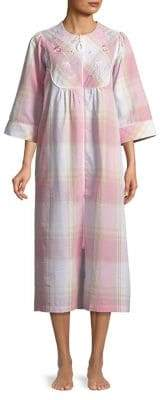 Miss Elaine Textured Floral Long Zip Nightgown