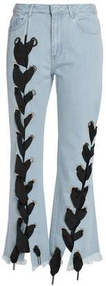 Marques Almeida Marques' Almeida Lace-Up Frayed Mid-Rise Flared Jeans