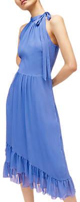 Warehouse Halter Neck Midi Dress, Bright Blue