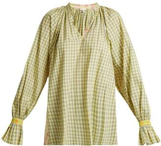 Natasha Zinko Checked Contrast Panel Cotton Top - Womens - Yellow