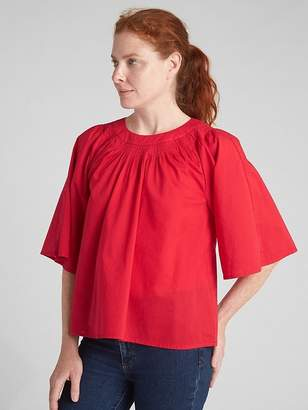 Gap Wide-Sleeve Pintuck Crewneck Blouse