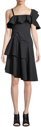 KENDALL + KYLIE One-Shoulder Asymmetric Ruffle Dress