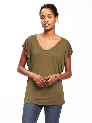 Relaxed Ruffle-Sleeve Top for Women $17.94 thestylecure.com