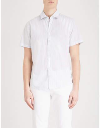 BOSS ORANGE Teardrop-print slim-fit cotton shirt