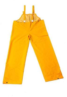 G & F Heavy-Weight 35mm PVC Over Polyester Rain Overall Bib, X-Large, Yellow, 1-Piece