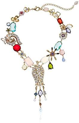 Badgley Mischka Women's Multi Flower & Fringe Ribbon Necklace