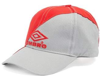 Vetements - X Umbro Logo Embroidered Canvas Cap - Womens - Grey Red