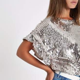 River Island Womens Silver sequin embellished frill sleeve top