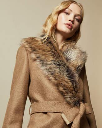 Ted Baker CORINNA Faux fur collar wrap coat