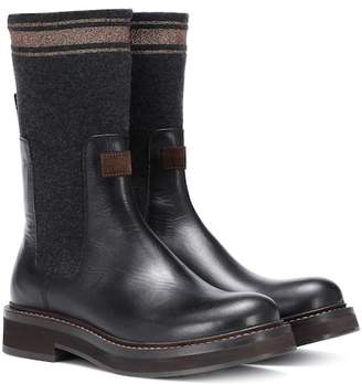 Brunello Cucinelli Cashmere and leather ankle boots
