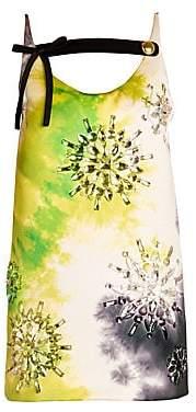 Prada Women's Silk Duchesse Tie-Dye Babydoll Dress