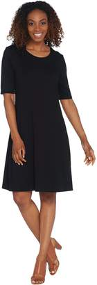 Halston H By H by Regular Knit Crepe Scoop Neck Elbow Sleeve Dress