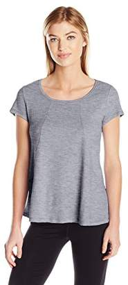 Calvin Klein Women's Short Sleeve Hi Low Tee with Angled Front Seams