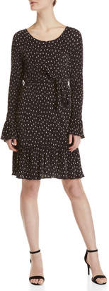 Yumi Pleated Polka Dot Ruffle Hem Dress