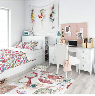 Designart 'Beautiful Flowers and Hearts Pattern' Modern Kids Teen Duvet Cover Set - Twin Bedding