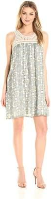 Allison Brittney Women's Sleeveless Crochet Yoke Dress with Back Keyhole, L