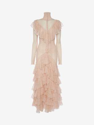 Alexander McQueen Engineered Sheer Lace Dress