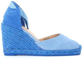 Castaner Carina Natural Jute And Light Blue Canvas Wedge Sandal