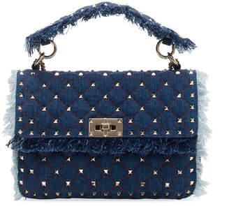 Valentino Rockstud Spike Medium Fringe Denim Shoulder Bag
