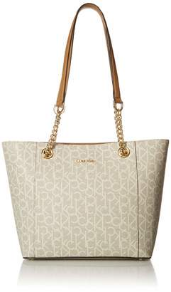 Calvin Klein Hayden Signature East/West Top Zip Chain Tote