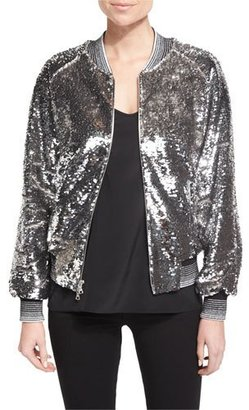 Libertine Sequined Bomber Jacket W/Striped Trim, Silver $3,000 thestylecure.com