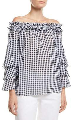 Michael Kors Off-the-Shoulder Tiered-Sleeve Gingham Blouse